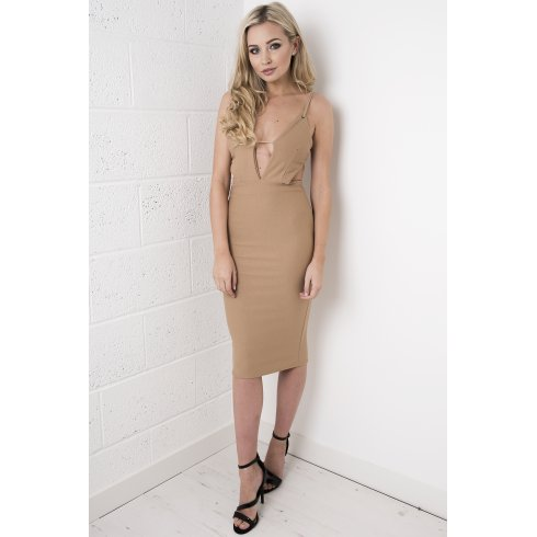 Camel Cut-out Bodycon Midi Dress
