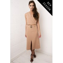 Camel Long A-line Skirt with Belt