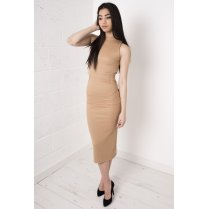 Camel Overlay Polo Midi Dress