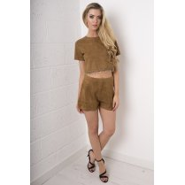 Camel Suede Shorts