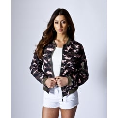 Camouflage Zip Front Bomber Jacket in Nude