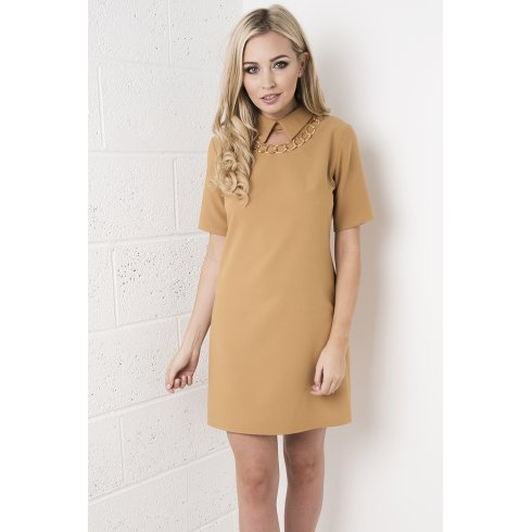 Chain Necklace Shift Dress in Camel