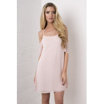 Chiffon Off The Shoulder Dress in Pink