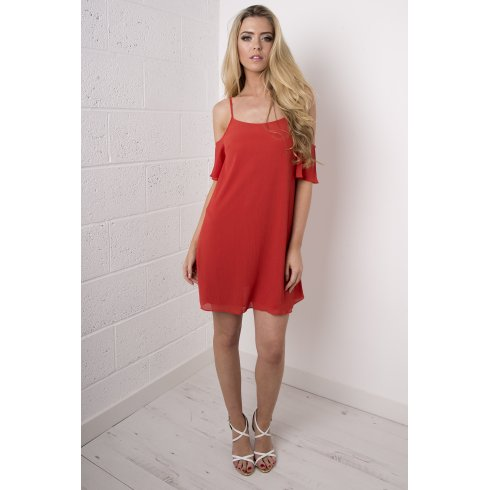 Chiffon Off The Shoulder Dress in Red
