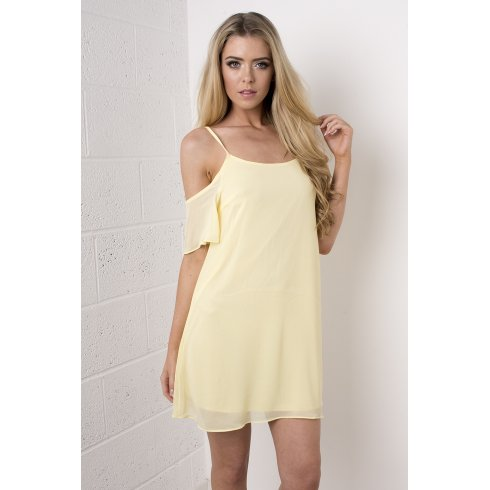 Chiffon Off The Shoulder Dress in Yellow