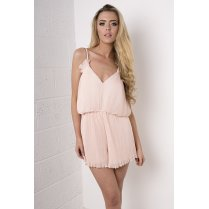 Chiffon Pleated Playsuit in Light Pink