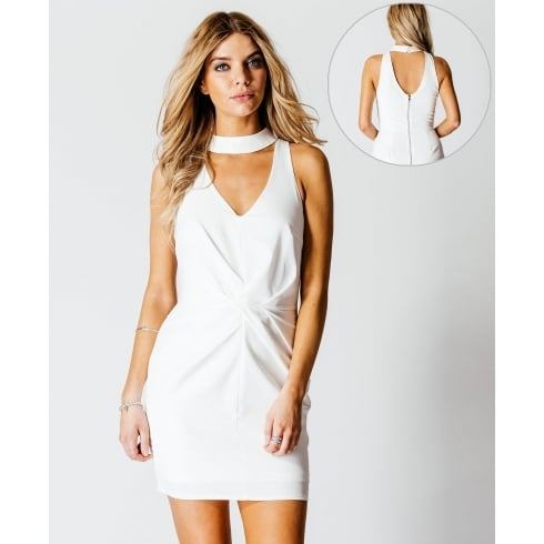 Choker Pleat Detail Mini Dress in White