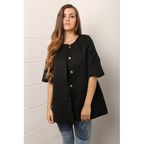 Collarless Kimono Style Swing Jacket in Black