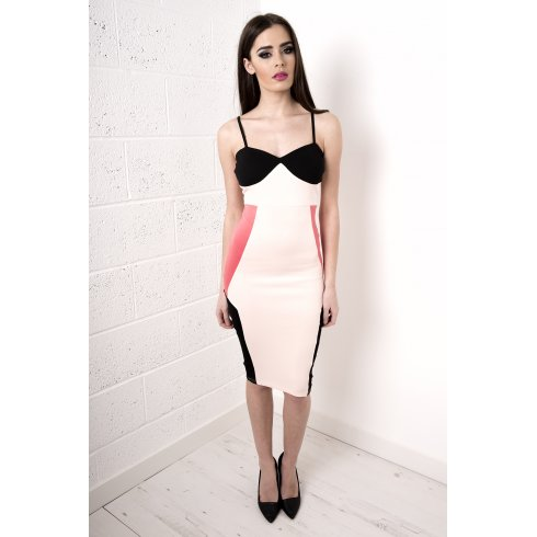 Contrast Scuba Bodycon Midi Dress in Pink