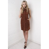 Cord Button Up Front Dress in Copper