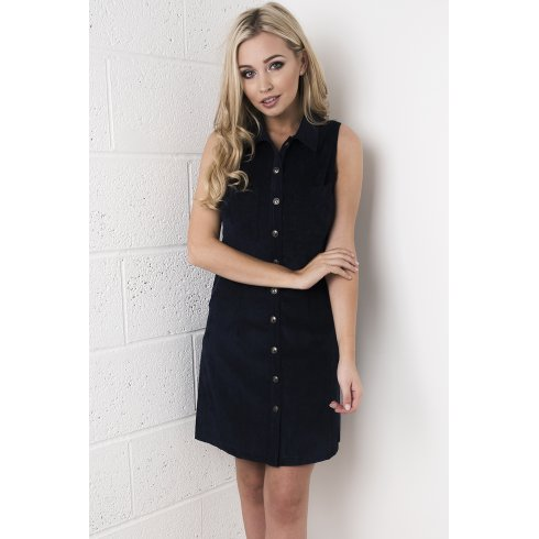 Cord Button Up Front Dress in Navy