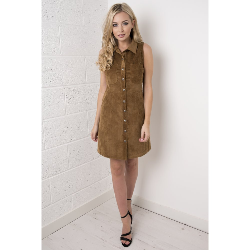 hot-selling fashion fashion design new collection Cord Button Up Front Dress in Tan