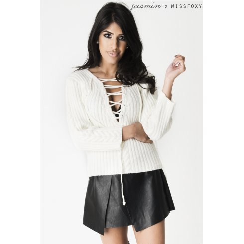 Cream Lace up Chunky Jumper