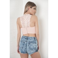 Crochet Back Crop Top in Pink