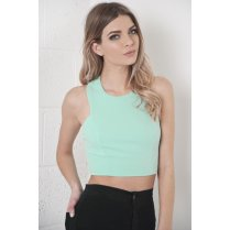 Crochet Back Crop Top in Turquoise