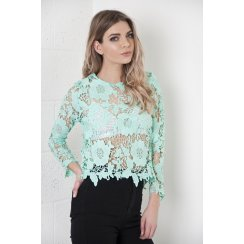 Crochet Lace Long Sleeve Top in Turquoise
