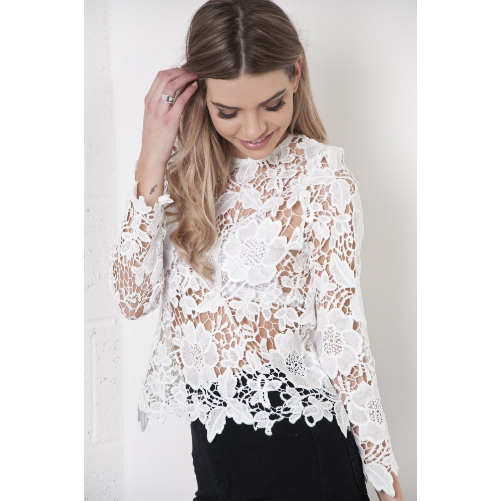 Crochet Lace Long Sleeve Top In White