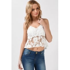 Crochet Peplum Cami Top in White