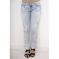 Crochet Side Cut-Out Skinny Jeans in Light Denim