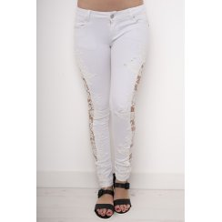 Crochet Side Cut-out Skinny Jeans in White