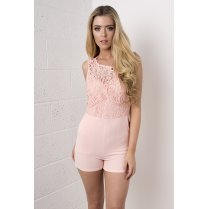 Crochet Top Playsuit in Pink