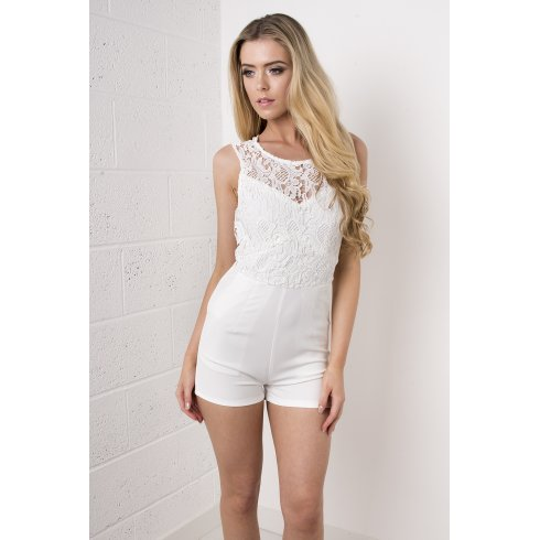 Crochet Top Playsuit in White