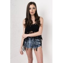 Crochet Vest Top with Fringe Detail in Black