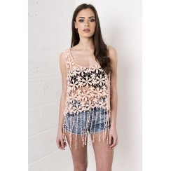 Crochet Vest Top with Fringe Detail in Coral
