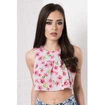 Cropped Floral Smock Top in Pink & Grey