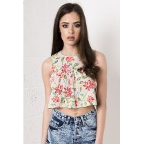 Cropped Floral Smock Top in Red