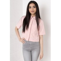 Cropped Pink Shirt in Suede