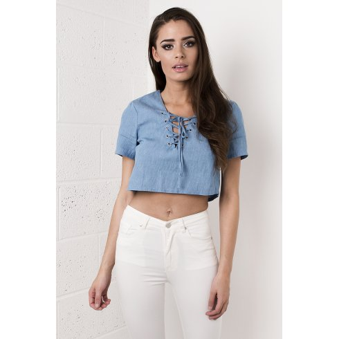 Cropped Shirt with Lace Up Front in Denim