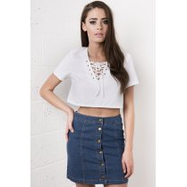 Cropped Shirt with Lace Up Front in White