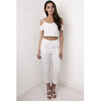 Cropped Tapered Trousers in White