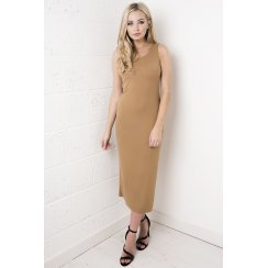 Cut Out Bow Back Midi Dress in Camel