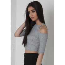Cut Out Halter-Neck Crop Top in Grey