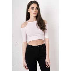 Cut Out Halter-Neck Crop Top in Pink
