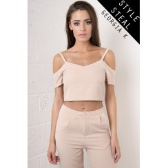 Cut-out Shoulder Crop in Nude