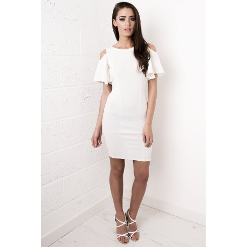 Cut-Out Shoulder Dress in White