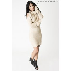 Cut Out Shoulder Jumper Dress in Cream
