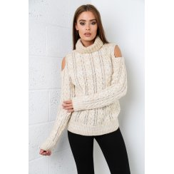 Cut-out Shoulder Jumper in Cream
