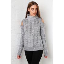 Cut-out Shoulder Jumper in Grey