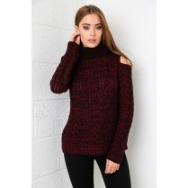 Cut-out Shoulder Jumper in Maroon