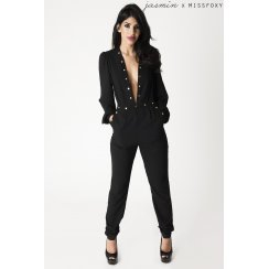 Deep Plunge Jumpsuit in Black