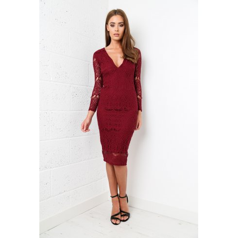 Deep V-Neck Lace Midi Dress in Maroon