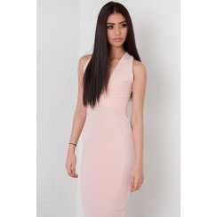 Deep V-Neck Midi Dress in Pink