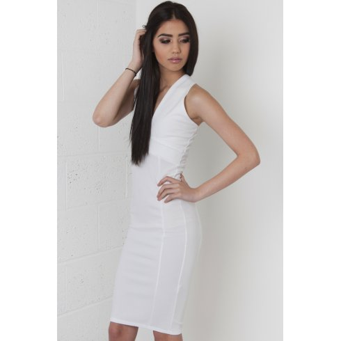 Deep V-Neck Midi Dress in White