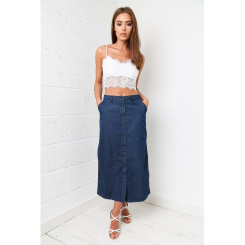 Denim Button Up Front Midi Skirt