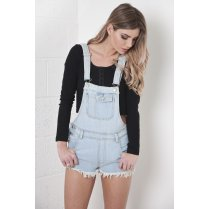 Denim Dungarees with Floral Back Pocket Detail