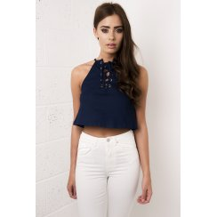 Denim Lace Up Crop